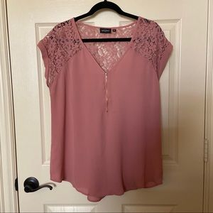 Dusty Rose Blouse with Lace and Zipper Detail